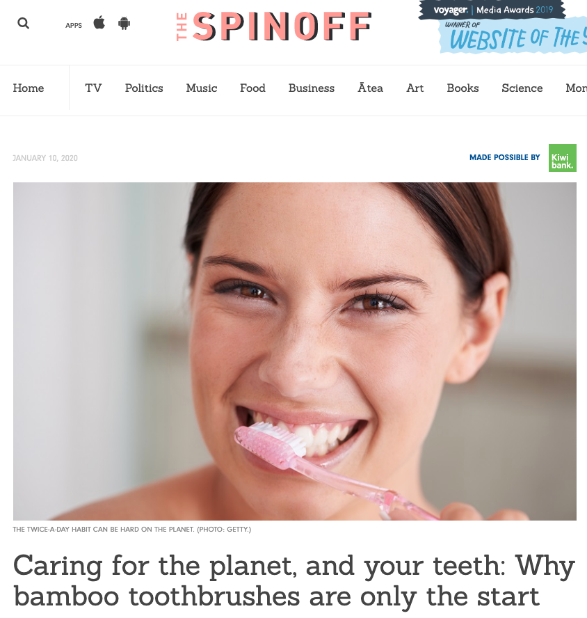Spinoff article feature image of a woman brushing her teeth. Title: Caring for the planet, and your teeth: Why bamboo toothbrushes are only the start.